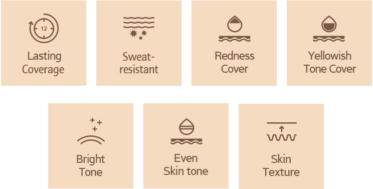 lasting coverage, sweat resistan, redness cover, yellowwish tone cover, bright tone, even skin tone, skin texture logo image