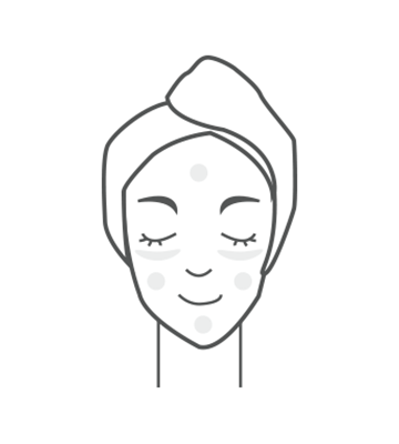 Dispense one pump and evenly apply on the forehead, under the eyes, cheeks, and chin as if applying lotion on the skin.