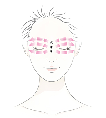 With the middle finger and ring finger, lightly press skin under the eyes, eyelids, and skin above the eyebrows up to the temple to promote absorption into skin.